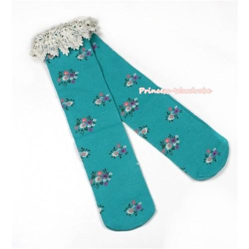 Aqua Blue Little Floral Print  Lace Lacing Cotton Knee Stocking Sock SK88