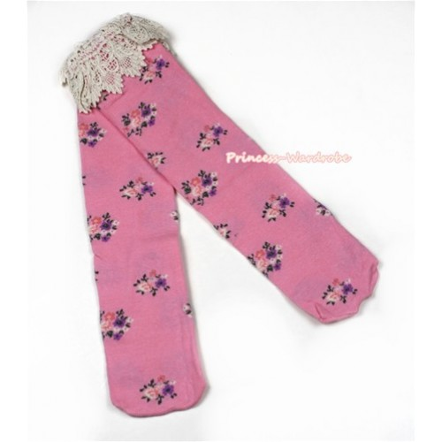 Light Pink Little Floral Print  Lace Lacing Cotton Knee Stocking Sock SK89