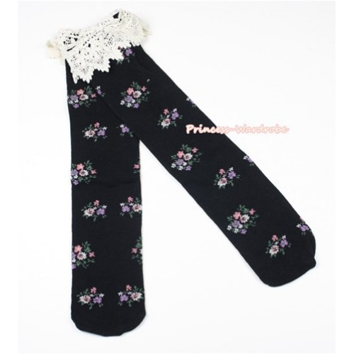 Black Little Floral Print Lace Lacing Cotton Knee Stocking Sock SK91