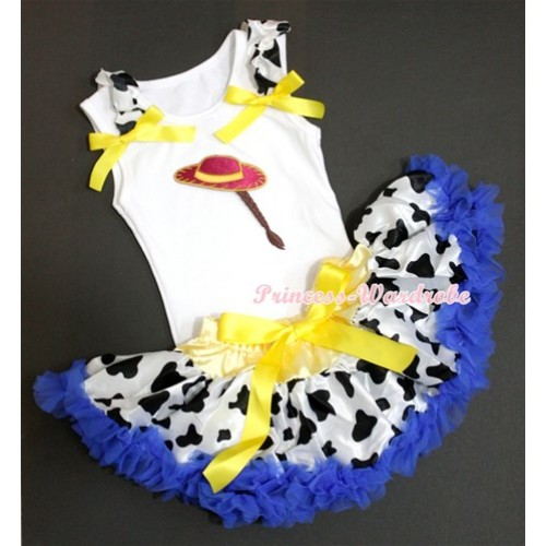 White Baby Pettitop with Cowgirl Hat Braid Print with Milk Cow Ruffles & Yellow Bow with Yellow Royal Blue Milk Cow Newborn Pettiskirt NN55