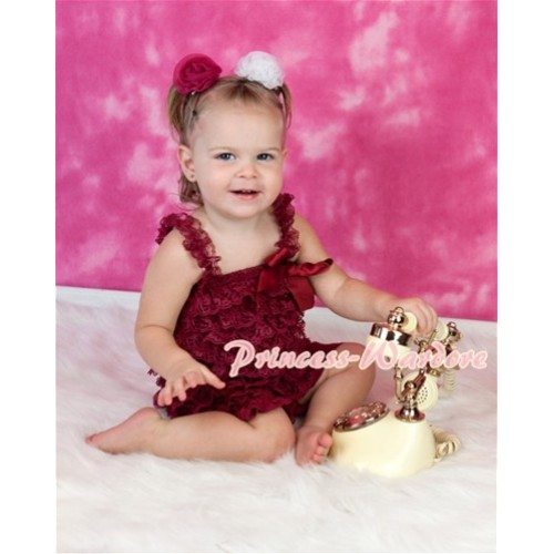 Raspberry Lace Ruffles Petti Rompers with Straps LR111