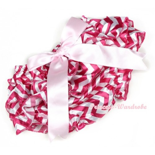 Hot Pink White Wave Satin Layer Panties Bloomers With Light Pink Big Bow BC156