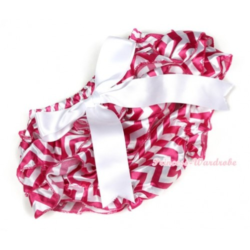 Hot Pink White Wave Satin Layer Panties Bloomers With White Big Bow BC157