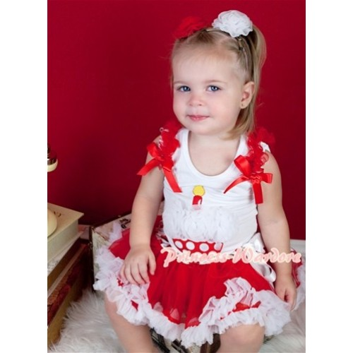 White Baby Pettitop & Red White Polka Dot Birthday Cake & Red Ruffles & Red Bow With Red White Polka Waist Red White Baby Pettiskirt NS814