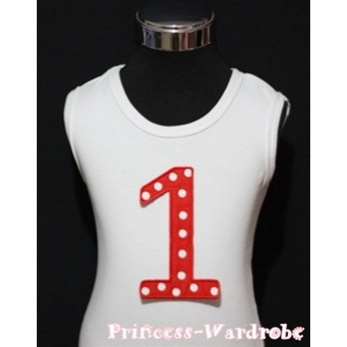 1st Birthday White Tank Top with Red White Polka Dots Print number TM01