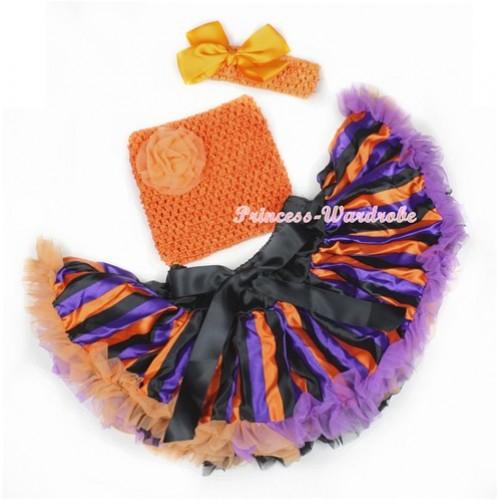 Halloween Dark Purple Orange Black Striped Baby Pettiskirt,Orange Rose Orange Crochet Tube Top,Orange Headband Orange Silk Bow 3PC Set CT603