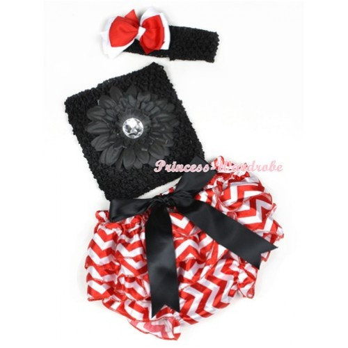 Black Big Bow Xmas Hot Red White Wave Satin Bloomer ,Black Flower Black Crochet Tube Top,Black Headband Red White Ribbon Bow 3PC Set CT607