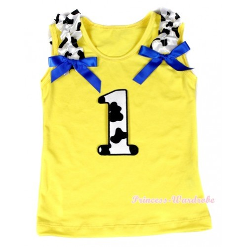 Yellow Tank Top With 1st Milk Cow Birthday Number Print with Milk Cow Ruffles & Royal Blue Bow TN211