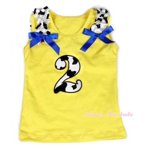 Yellow Tank Top With 2nd Milk Cow Birthday Number Print with Milk Cow Ruffles & Royal Blue Bow TN212