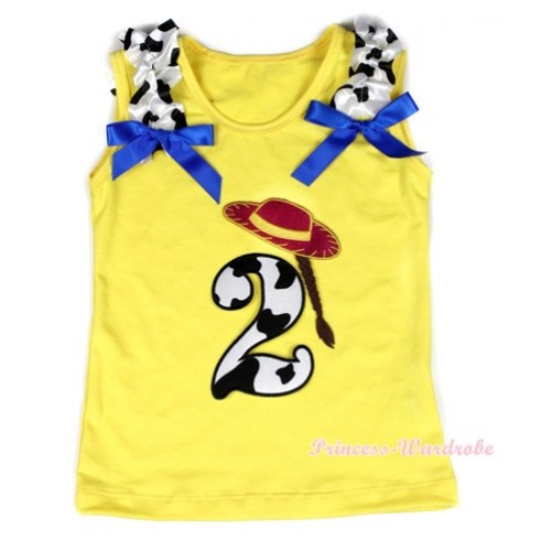 Yellow Tank Top With 2nd Cowgirl Hat Braid Milk Cow Birthday Number Print with Milk Cow Ruffles & Royal Blue Bow TN218