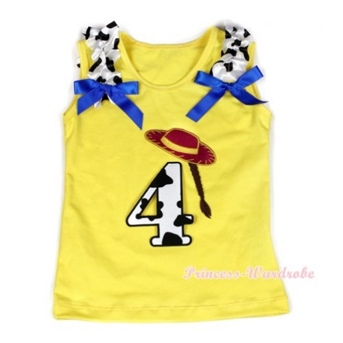 Yellow Tank Top With 4th Cowgirl Hat Braid Milk Cow Birthday Number Print with Milk Cow Ruffles & Royal Blue Bow TN220