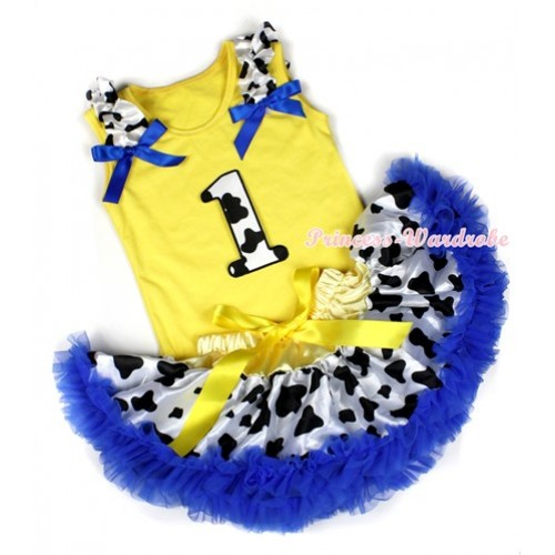 Yellow Baby Pettitop with 1st Milk Cow Birthday Number Print with Milk Cow Ruffles & Royal Blue Bow with Yellow Royal Blue Milk Cow Newborn Pettiskirt BG80