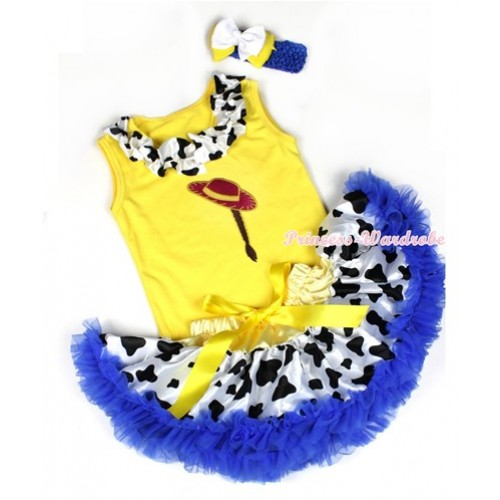 Yellow Baby Pettitop with Cowgirl Hat Braid Print with Milk Cow Satin Lacing With Yellow Royal Blue Milk Cow Newborn Pettiskirt With Royal Blue Headband White Yellow Ribbon Bow BG87