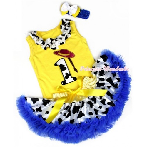 Yellow Baby Pettitop with 1st Cowgirl Hat Braid Milk Cow Birthday Number Print with Milk Cow Satin Lacing With Yellow Royal Blue Milk Cow Newborn Pettiskirt With Royal Blue Headband White Yellow Ribbon Bow BG88