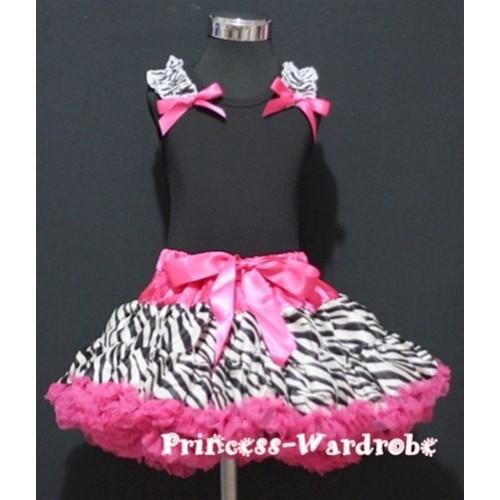 Black Pettitop with Zebra Ruffles&Hot Pink Bow with Hot Pink Zebra Pettiskirt MW06