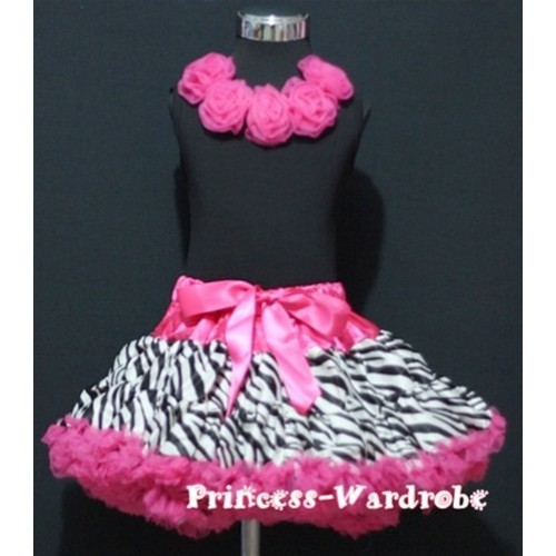 Black Tank Tops with Hot Pink Rosettes & Hot Pink Zebra Print Pettiskirt M182