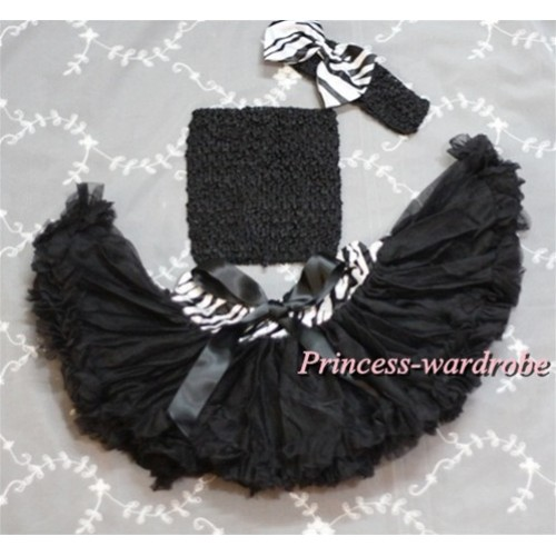 Black Crochet Tube Top, Zebra Waist Black Pettiskirt with Black Headband and Zebra Bow CT315