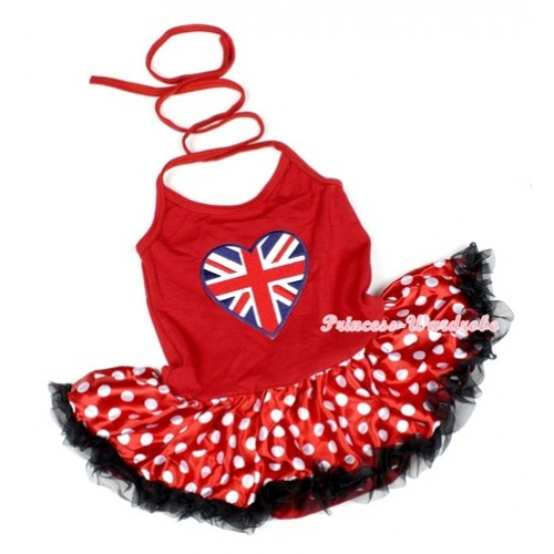 Hot Red Baby Halter Jumpsuit Minnie Polka Dots Pettiskirt With Patriotic British Heart Print JS1136