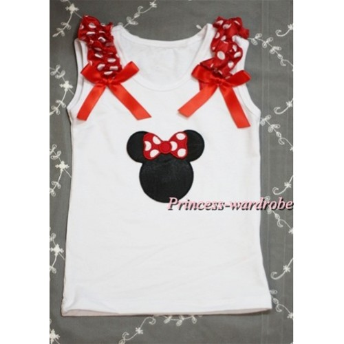 Minnie Print White Tank Top with Minnie Ruffles and Red Bow T372