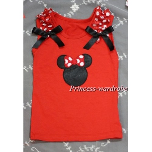 Minnie Print Red Tank Top with Minnie Ruffles and Black Bow T391