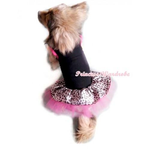 Black Sleeveless Hot Pink Leopard Gauze Skirt Pet Dress DC011