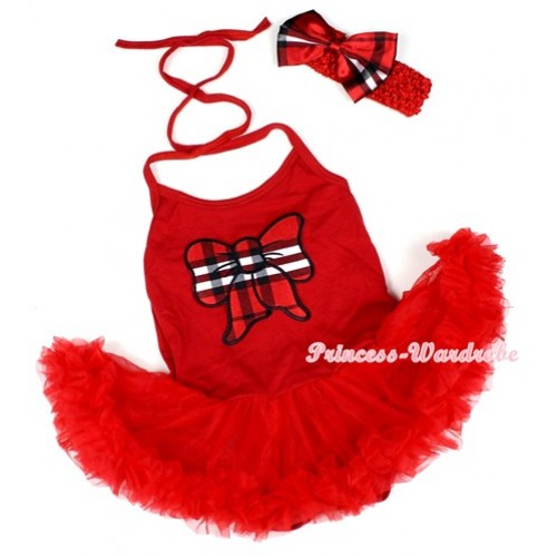 Hot Red Baby Halter Jumpsuit Red Pettiskirt With Red Black Checked Butterfly Print With Red Headband Red Black Checked Satin Bow JS1212