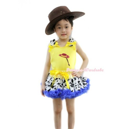Yellow Tank Top with Cowgirl Hat Braid Print with Milk Cow Ruffles & Yellow Bow& Yellow Royal Blue Milk Cow Pettiskirt With Brown Leather Cowboy Hat M526
