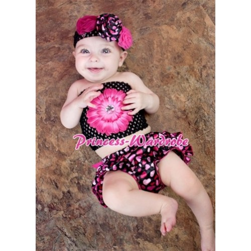 Hot Pink Big Bow Hot Pink Heart Satin Bloomer ,Hot Pink Flower Black Crochet Tube Top,Black Headband Optional Rose 3PC Set CT611