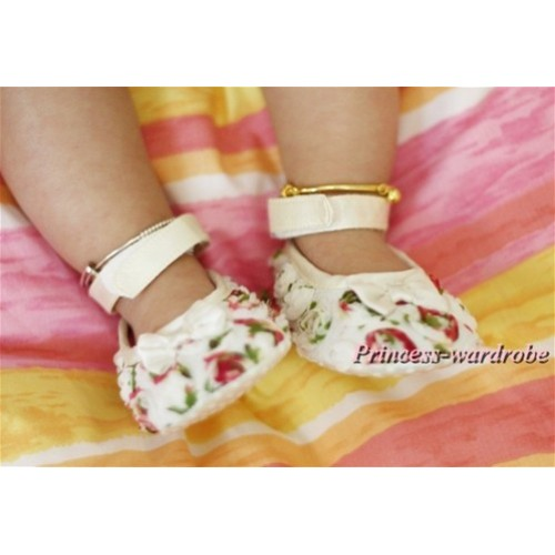 White and colorful Rosettes Crib Shoes S413