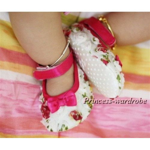 Hot Pink and colorful Rosettes Crib Shoes S414