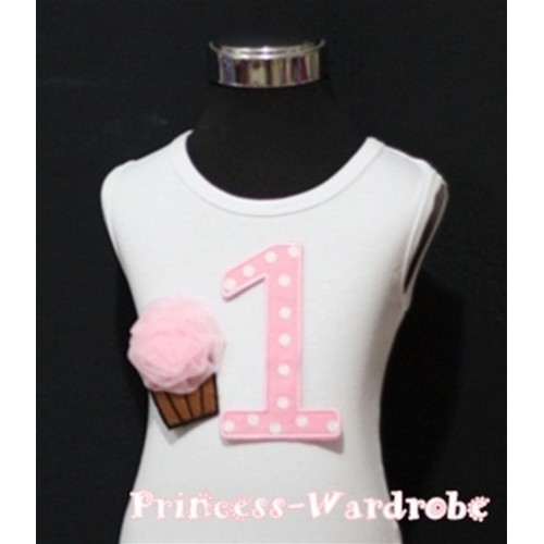 1st Birthday White Tank Top with Light Pink White Polka Dots Print number and Light Pink Rosettes Cupcake TM39