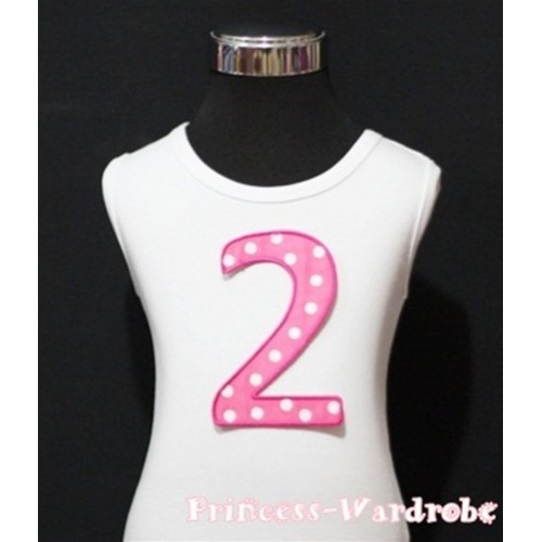 2nd Birthday White Tank Top with Hot Pink White Polka Dots Print number TM47
