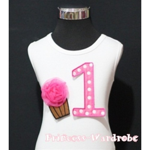 1st Birthday White Tank Top with Hot Pink White Polka Dots Print number and Hot Pink Rosettes Cupcake TM51