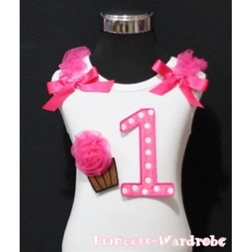 1st Birthday White Tank Top with Hot Pink White Polka Dots Print number and Hot Pink Rosettes Cupcake and Hot Pink Ribbon, Ruffles TM52