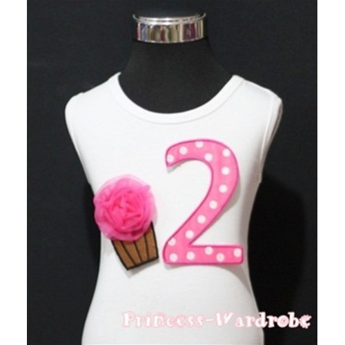 2nd Birthday White Tank Top with Hot Pink White Polka Dots Print number and Hot Pink Rosettes Cupcake TM53
