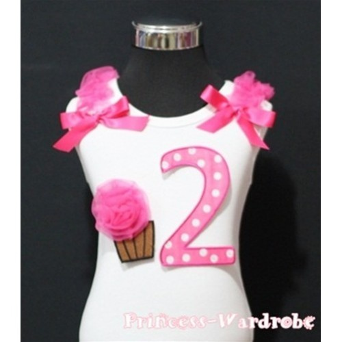 2nd Birthday White Tank Top with Hot Pink White Polka Dots Print number and Hot Pink Rosettes Cupcake with Hot Pink Ribbon and ruffles TM54