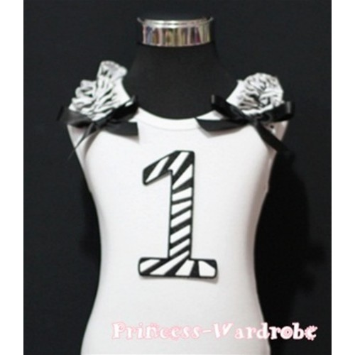 1st Birthday White Tank Top with Black Zebra Print number with Black Ribbon and Zebra ruffles TM58