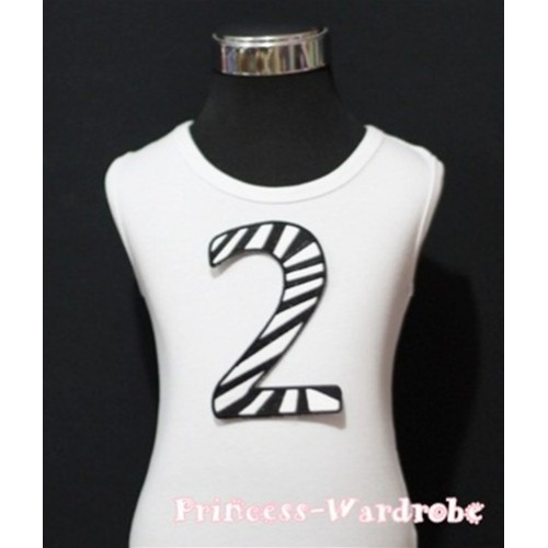 2nd Birthday White Tank Top with Black Zebra Print number TM59