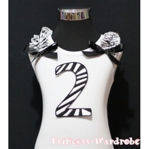2nd Birthday White Tank Top with Black Zebra Print number with Black Ribbon and Zebra ruffles TM60
