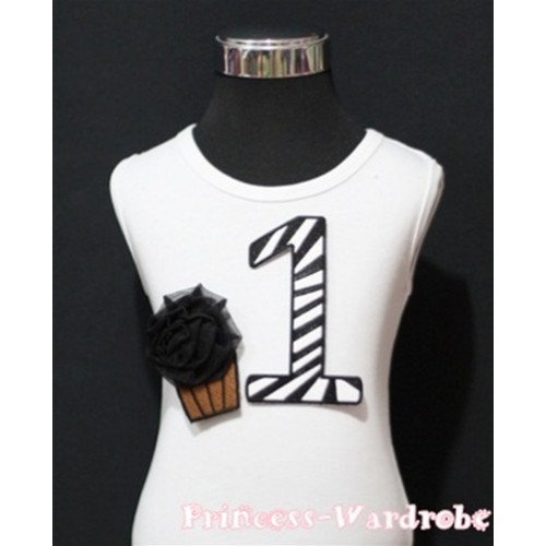 1st Birthday White Tank Top with Black Zebra Print number and Black Rosettes Cupcake TM63