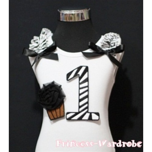 1st Birthday White Tank Top with Black Zebra Print number and Black Rosettes Cupcake and Black Ribbon, Zebra Ruffles TM64