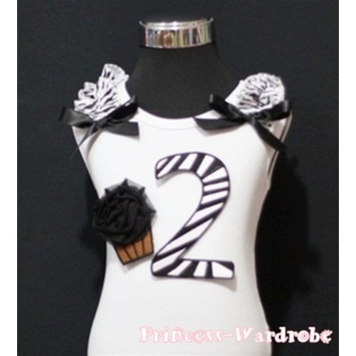 2nd Birthday White Tank Top with Black Zebra Print number and Black Rosettes Cupcake with Black Ribbon and Zebra ruffles TM66