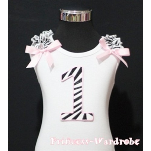 1st Birthday White Tank Top with Light Pink Zebra Print number with Light Pink Ribbon and Zebra ruffles TM70