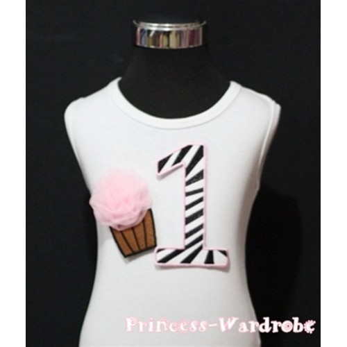 1st Birthday White Tank Top with Light Pink Zebra Print number and Light Pink Rosettes Cupcake TM75