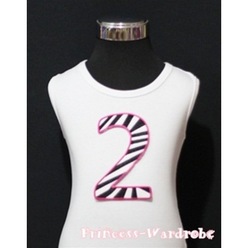 2nd Birthday White Tank Top with Hot Pink Zebra Print number TM83