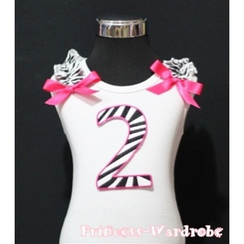 2nd Birthday White Tank Top with Hot Pink Zebra Print number with Hot Pink Ribbon and Zebra ruffles TM84