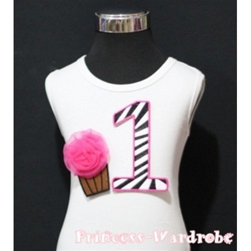 1st Birthday White Tank Top with Hot Pink Zebra Print number and Hot Pink Rosettes Cupcake TM87