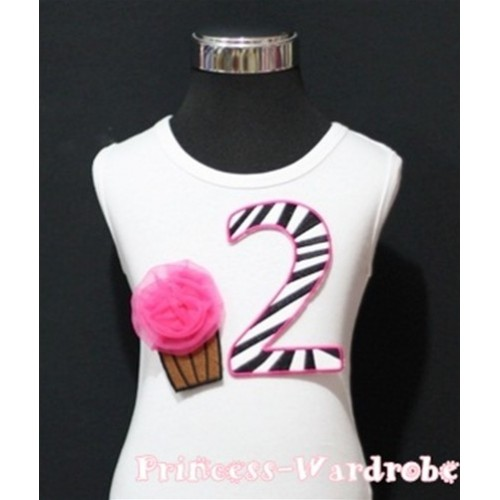 2nd Birthday White Tank Top with Hot Pink Zebra Print number and Hot Pink Rosettes Cupcake TM89