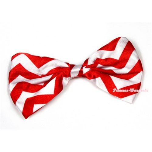 Xmas Red White Wave Satin Bow Hair Clip H718