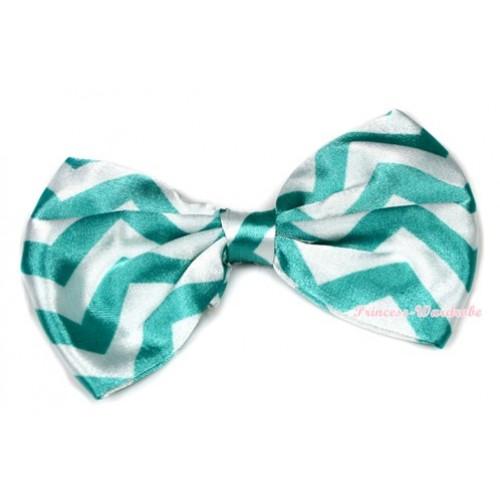 Aqua Blue White Wave Satin Bow Hair Clip H720